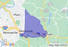 Murrysville, Pennsylvania Border Map - Phone Size