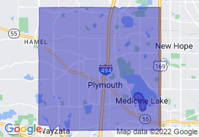 Plymouth, Minnesota Border Map - Phone Size