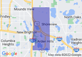 Arden Hills, Minnesota Border Map - Phone Size