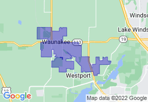 Waunakee, Wisconsin Border Map - Phone Size