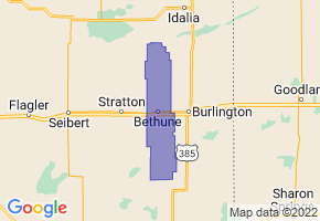 Bethune School District R-5, Colorado Border Map - Phone Size