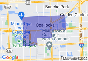 Opa-locka, Florida Border Map - Phone Size
