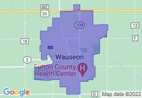 Wauseon, Ohio Border Map - Phone Size