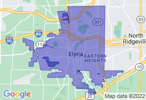 Elyria, Ohio Border Map - Phone Size