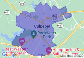 Culpeper, Virginia Border Map - Phone Size