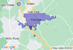 Fletcher, North Carolina Border Map - Phone Size