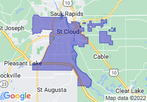 St. Cloud, Minnesota Border Map - Phone Size