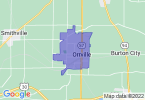 Orrville, Ohio Border Map - Phone Size