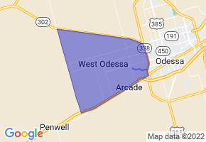 West Odessa, Texas Border Map - Phone Size