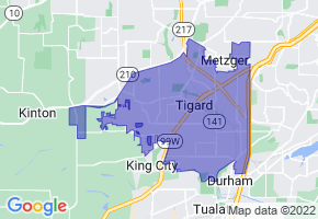 Tigard, Oregon Border Map - Phone Size