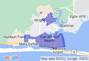 Fort Walton Beach, Florida Border Map - Phone Size