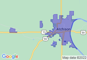 Atchison, Kansas Border Map - Phone Size