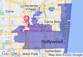 Hollywood, Florida Border Map - Phone Size