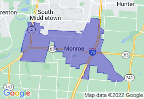 Monroe, Ohio Border Map - Phone Size