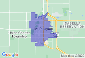Mount Pleasant, Michigan Border Map - Phone Size