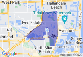 Ojus, Florida Border Map - Phone Size