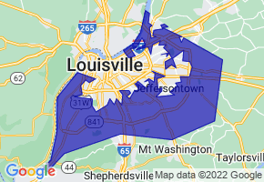 Louisville/Jefferson County, Kentucky Border Map - Phone Size
