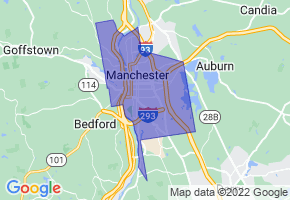 Manchester, New Hampshire Border Map - Phone Size