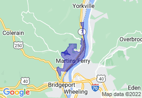 Martins Ferry, Ohio Border Map - Phone Size
