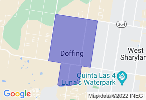 Doffing, Texas Border Map - Phone Size