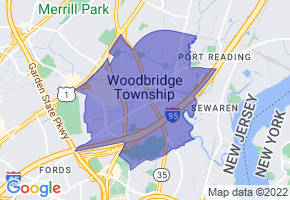 Woodbridge, New Jersey Border Map - Phone Size