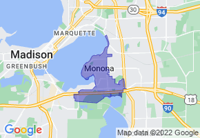 Monona, Wisconsin Border Map - Phone Size