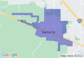 Santa Fe, Texas Border Map - Phone Size