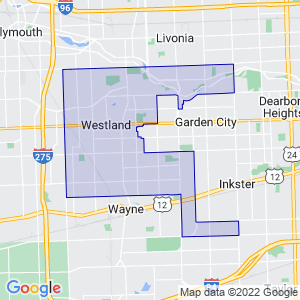 Westland, Michigan Border Map