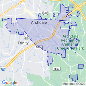 Archdale, North Carolina Border Map