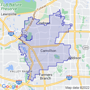 Carrollton, Texas Border Map