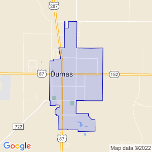Dumas, Texas Border Map