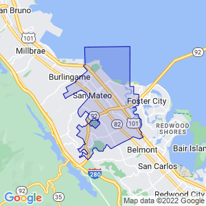 San Mateo, California Border Map