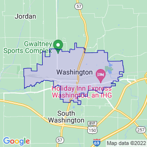 Washington, Indiana Border Map