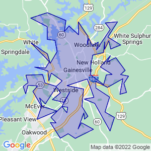 Gainesville, Georgia Border Map