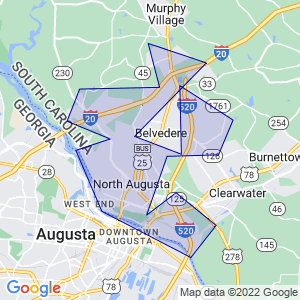 North Augusta, South Carolina Border Map