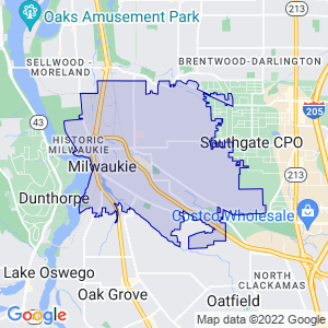Milwaukie, Oregon Border Map