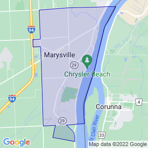 Marysville, Michigan Border Map