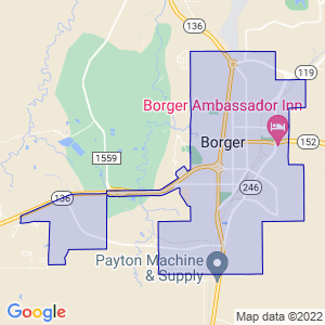 Borger, Texas Border Map