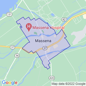 Massena, New York Border Map