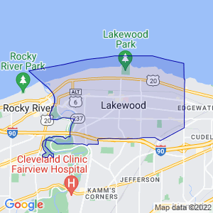 Lakewood, Ohio Border Map