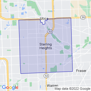 Sterling Heights, Michigan Border Map