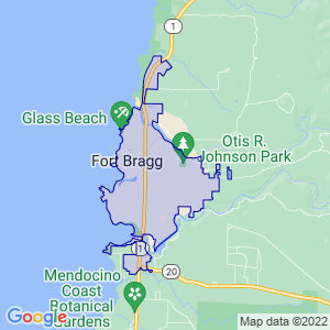 Fort Bragg, California Border Map