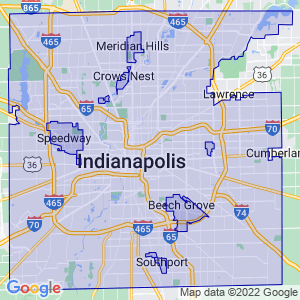 Indianapolis, Indiana Border Map