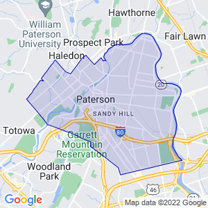 Paterson, New Jersey Border Map