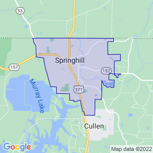 Springhill, Louisiana Border Map