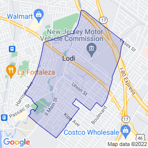 Lodi, New Jersey Border Map