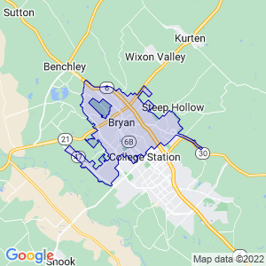 Bryan, Texas Border Map