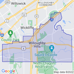 Willoughby Hills, Ohio Border Map