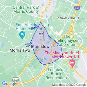 Morristown, New Jersey Border Map