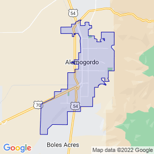 Alamogordo, New Mexico Border Map